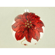 Red Poinsettia Glass Ball Ornament, 4-Pack