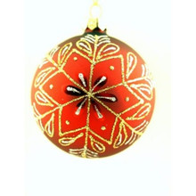 Red, Silver & Gold Snowflake Glass Ball Ornament, 4-Pack