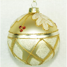 Beaded Leaf Glass Ball Ornament, 4-Pack