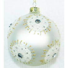 Glitter Starburst Design Glass Ball Ornament, 4-Pack