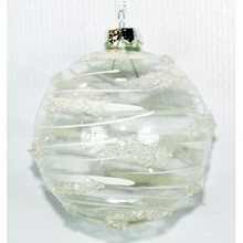 Clear, White Design Glass Ball Ornament, 4-Pack