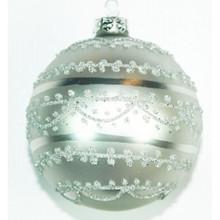 Silver Glitter Design Glass Ball Ornament, 4-Pack