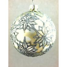 Silver Glitter Poinsettia Glass Ball Ornament, 4-Pack