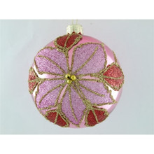 Light Purple Poinsettia Glass Ball Ornament, 4-Pack
