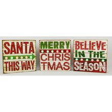 Lighted Wooden Christmas Signs, 3 Assorted