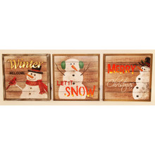 Lighted Wooden Snowman Christmas Signs, 3 Assorted