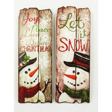 Lighted Warm Greetings Snowman Christmas Signs, 2 Assorted