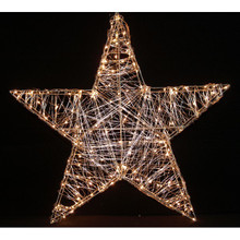 24in Metal Silver Wired Star with Warm White LED Lights