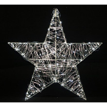 24in Metal Silver Wired Star with Cool White LED Lights