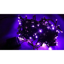 100 LED String Light in Purple, Black Wire