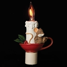 Sleeping Mouse in Candle LED Night Light #130441RI