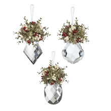 Kissing Krystal Mistletoe on Jewel Ornament, 3 Assorted #KK263