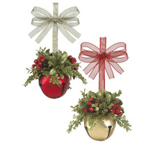 Kissing Krystal Mistletoe Sleigh Bell Ornament, 2 Assorted #KK323