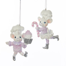 Kurt Adler 4in Sugar Plum Chef Mouse Ornament, 2 Assorted #C7907