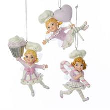 Kurt Adler 4.75in Sugar Plum Chef Girl Ornament, 3 Assorted #C7908