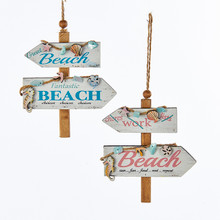 Kurt Adler Wooden Coral Beach Sign Ornament, 2 Assorted #C5864