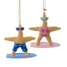 Kurt Adler Surfing Starfish Ornament, 2 Assorted #C9248
