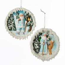 Kurt Adler Icy Blue Santa Scene Ornament, 2 Assorted #C7937