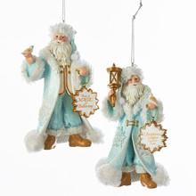 Kurt Adler Icy Blue Village Santa Ornament, 2 Assorted #C7939