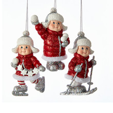Kurt Adler Red Puffy Jacket Kid Ornament, 3 Assorted #C6775