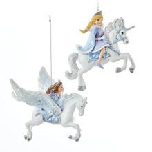 Kurt Adler Princess on Unicorn & Pegasus Ornament, 2 Assorted #C9215