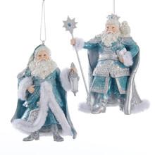 Kurt Adler Platinum & Teal Santa Claus Ornament, 2 Assorted #C9268