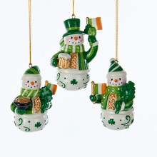 Kurt Adler Porcelain Irish Snowman Ornament, 3 Assorted #J7320