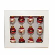 Kurt Adler 12pc Glass Santa Clause with Buckle Mini Ornaments #GG0684