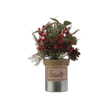 RAZ Pinecone & Berries in Galvanized Vase #3602344