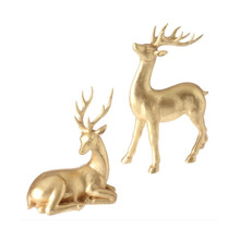 RAZ Brushed Gold Deer Figurine, Set of 2 #3611146