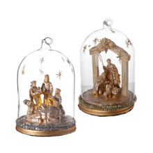 RAZ Lighted Nativity Cloche, 2 Assorted #3712598