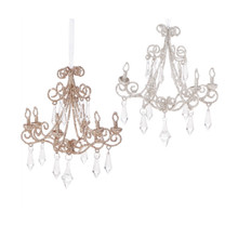 RAZ Glittered Chandelier Ornament, 2 Assorted #3713500