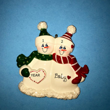 Rudolph & Me Expecting Snow Couple Personalized Ornament #973