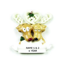 Rudolph & Me Reindeer Family of 2 Personalized Ornament #6-2
