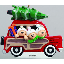 Rudolph & Me Woody Wagon Family of 3 Personalized Ornament #1202-3
