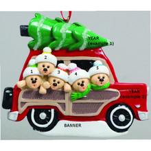 Rudolph & Me Woody Wagon Family of 5 Personalized Ornament #1202-5