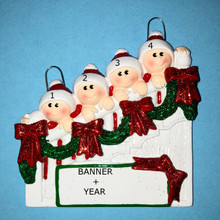 Rudolph & Me Staircase Family of 4 Personalized Ornament #1208-4