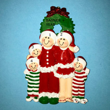 Rudolph & Me Christmas Eve Family of 5 Personalized Ornament #1611-5