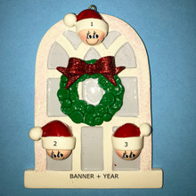 Rudolph & Me Christmas Window Family of 3 Personalized Ornament #903-3