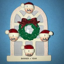 Rudolph & Me Christmas Window Family of 4 Personalized Ornament #903-4