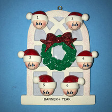Rudolph & Me Christmas Window Family of 6 Personalized Ornament #903-6