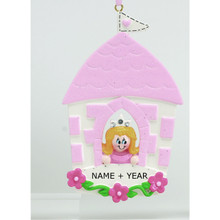 Rudolph & Me Princess in Castle Personalized Ornament #913G