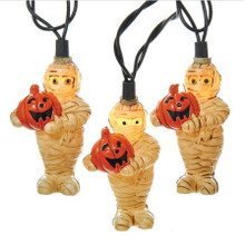 Kurt Adler  Antique Mummy with Pumpkin Light Set #HW1678