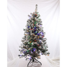 4.5ft Pre-Lit Flocked Grand Dakota Fir Tree in Dual Color Changing