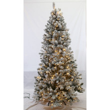 6.5ft Pre-Lit Flocked Grand Dakota Fir Tree in Dual Color Changing