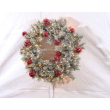 30in Pre-Lit Flocked Glittery Pine Wreath in Warm White