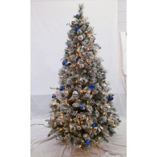 7ft Pre-Lit Flocked Fairfield Tree with Blue & Silver Ornaments in Clear