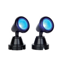 Lemax Village Collection Round Spot Light, Blue, Set Of 2 #54945