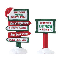 Lemax Village Collection North Pole Signs, Set Of 2 #74325