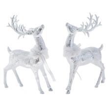 RAZ Glittered Deer with Fur Collar #3800506